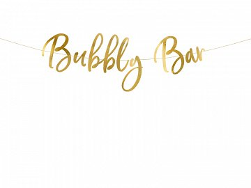 Banner Bubbly Bar, gold, 83x21cm