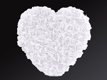 Full flower heart, white, 50cm