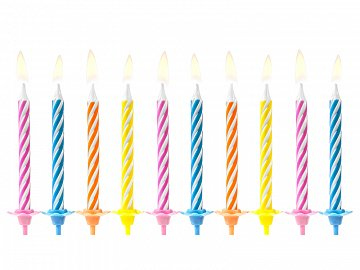 Birthday candles, mix, 6cm (1 pkt / 10 pc.)