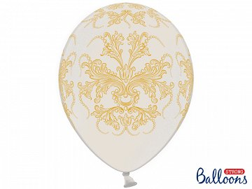 Balony 30cm, Ornament, Metallic Pure White (1 op. / 6 szt.)