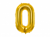 "Foil Balloon Number ""0"", 86cm, gold"