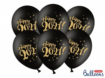 Balloons 30cm, Happy 2021!, Pastel Black (1 pkt / 6 pc.)