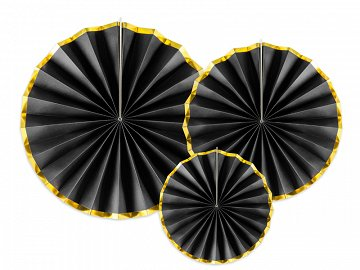 Decorative Rosettes, black (1 pkt / 3 pc.)