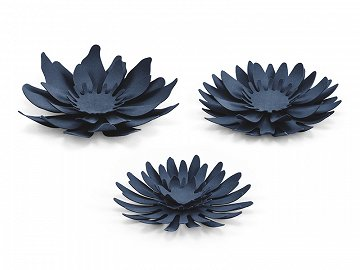 Paper decorations Flowers, dark navy blue (1 pkt / 3 pc.)