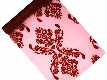 Printed Organza, deep red, 0.36 x 9m