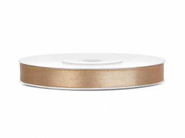 Satin Ribbon, light gold, 6mm/25m (1 pc. / 25 lm)
