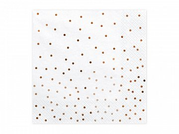 Napkins Dots, white, 33x33cm (1 pkt / 20 pc.)