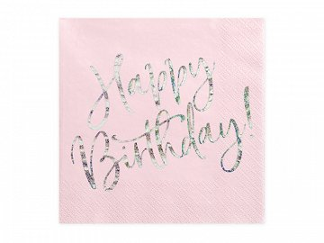 Napkins Happy Birthday, light powder pink, 33x33cm  (1 pkt / 20 pc.)