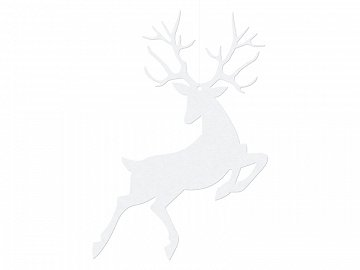 Hanging decoration Rudolf, white, 9.4 x 14.5cm (1 ctn / 50 pkt) (1 pkt / 10 pc.)
