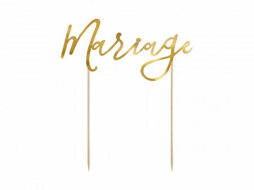 Cake topper Mariage, gold, 22.5cm