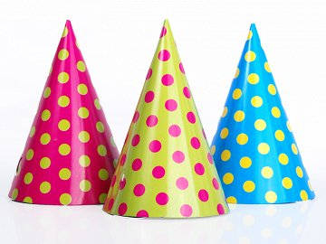 Party Hats Dots, mix, 16cm (1 pkt / 6 pc.)