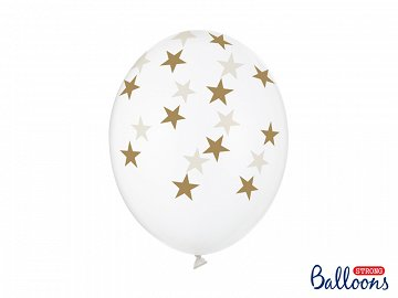 Balloons 30cm, Stars, Crystal Clear (1 pkt / 6 pc.)