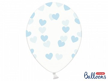 Balloons 30cm, Hearts, Crystal Clear (1 pkt / 6 pc.)
