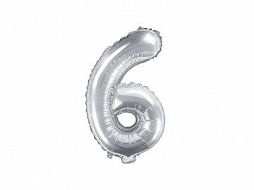 "Foil Balloon Number ""6"", 35cm, silver"