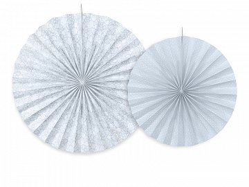 Decorative rosettes, grey-blue (1 pkt / 2 pc.)