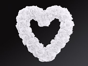 Empty flower heart, white, 50cm