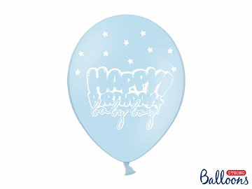 Balony 30cm, Happy Birthday, P. Baby Blue (1 op. / 6 szt.)