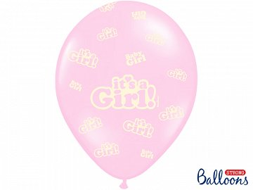 Balony 30cm, It's a Girl, Pastel Baby Pink (1 op. / 6 szt.)