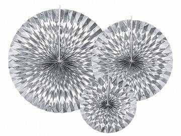 Decorative Rosettes, silver (1 pkt / 3 pc.)