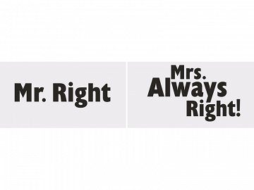 Funny boards Mr. Right/Mrs. Always Right! (1 pkt / 2 pc.)