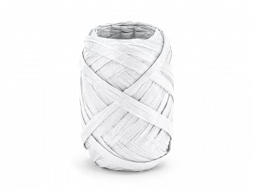 Raffia ribbon, 5mm/10m, white (1 ctn / 80 pc.)
