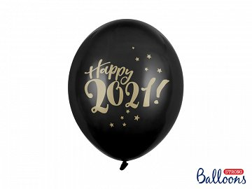 Balloons 30cm, Happy 2021!, Pastel Black (1 pkt / 50 pc.)