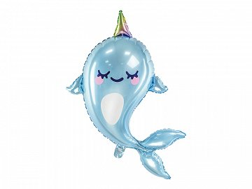 Foil balloon Narwhal, 53x87cm, mix