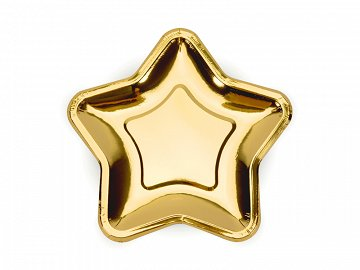 Paper Plates Star, gold, 18cm (1 pkt / 6 pc.)