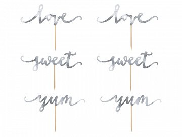 Cupcake toppers Love, silver, 13cm (1 pkt / 6 pc.)