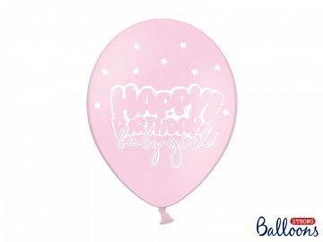 Balloons 30cm, Happy Birthday, Pastel Baby Pink (1 pkt / 6 pc.)