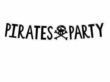 Banner Pirates Party, black, 14x100cm