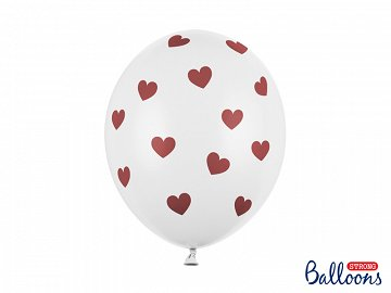 Balloons 30cm, Hearts, Pastel Pure White (1 pkt / 6 pc.)