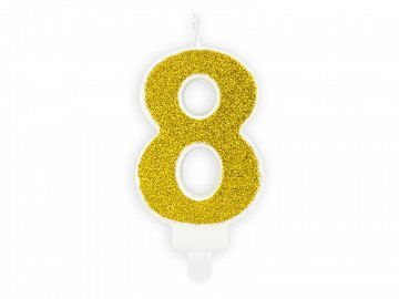 Birthday candle Number 8, gold (1 ctn / 24 pc.)