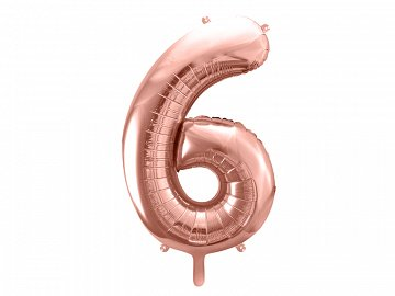 "Foil Balloon Number ""6"", 86cm, rose gold"