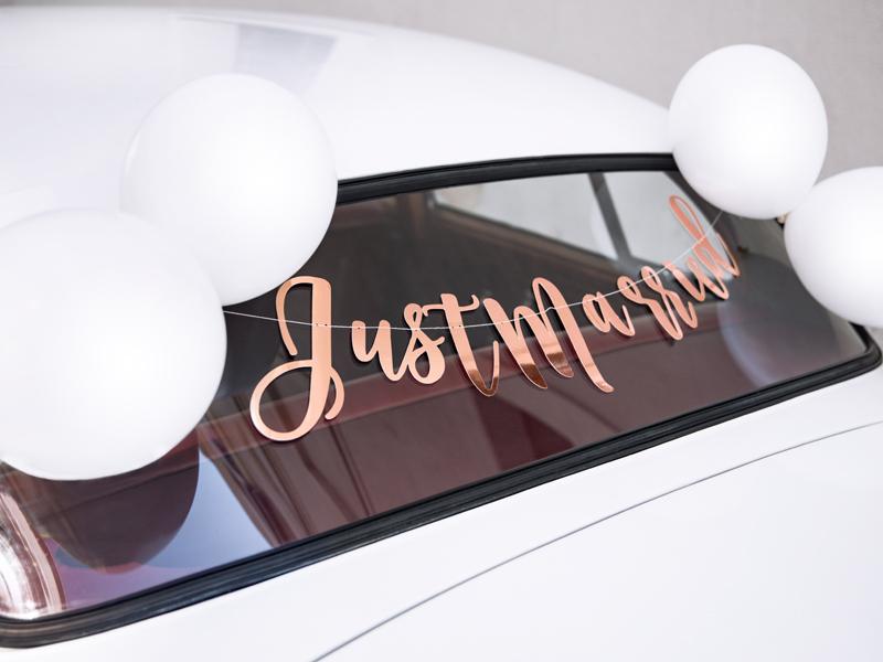 695aca0d47fee1 Zestaw dekoracji samochodowych - Just Married