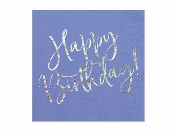 Napkins Happy Birthday, navy blue, 33x33cm (1 pkt / 20 pc.)