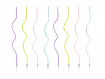 Birthday candles curl, mix, 14cm (1 pkt / 8 pc.)