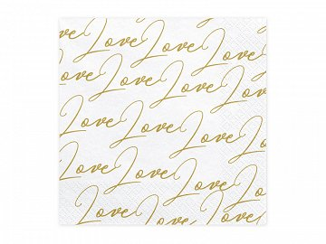 Napkins Love, white, 33x33cm  (1 pkt / 20 pc.)
