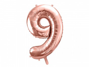 "Foil Balloon Number ""9"", 86cm, rose gold (1 ctn / 50 pc.)"