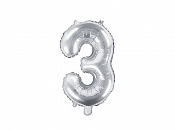 "Foil Balloon Number ""3"", 35cm, silver"