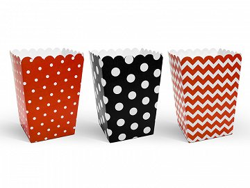 Decorative boxes for popcorn - Ladybug, mix, 7.5 x 7.5 x 12.5 cm (1 ctn / 40 pkt) (1 pkt / 6 pc.)