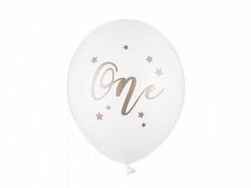 Balony 30 cm, One, Pastel Pure White (1 op. / 50 szt.)