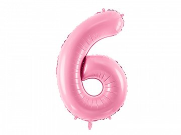 "Foil Balloon Number ""6"", 86cm, pink"