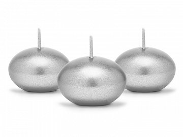 Floating candle disc, metallic, silver, 4cm (1 pkt / 50 pc.)