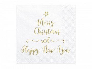 Napkins Merry Christmas and Happy New Year, 33x33cm (1 pkt / 20 pc.)