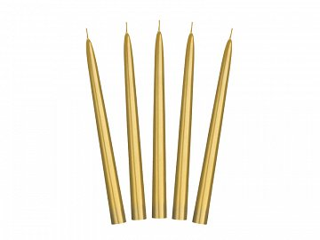 Taper candles, metallic, gold, 24cm (1 pkt / 10 pc.)