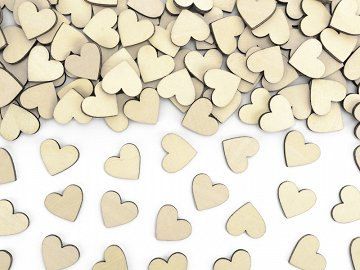 Wooden confetti Hearts, 2x2cm (1 pkt / 50 pc.)
