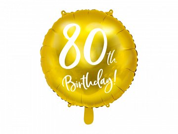 Foil Balloon 80th Birthday, gold, 45cm