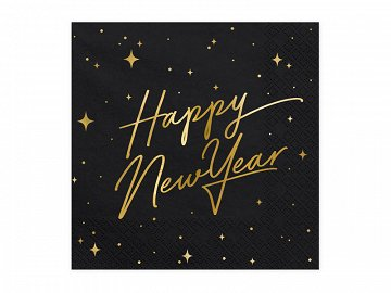 Napkins Happy New Year, black, 33x33cm (1 pkt / 20 pc.)