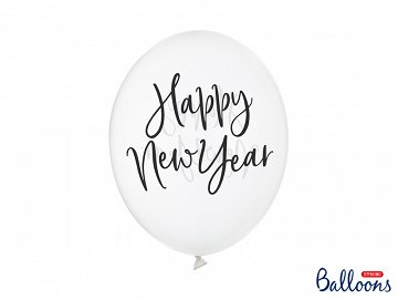 Balloons 30cm, Happy New Year, Crystal Clear (1 pkt / 6 pc.)